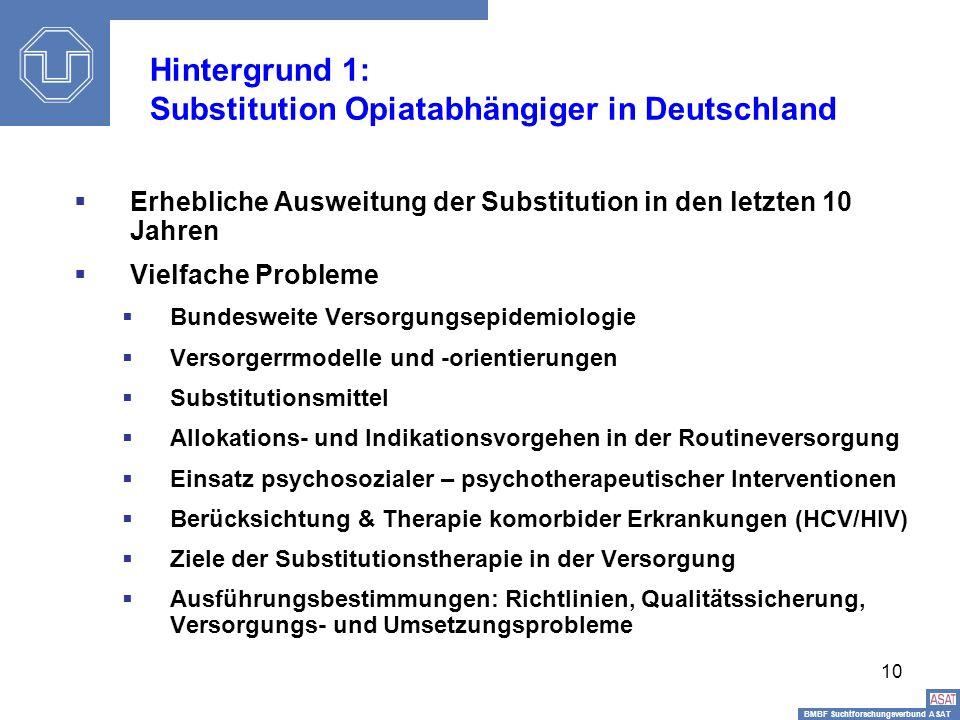 BMBF Suchtforschungsverbund ASAT Sisi-Depressionstag10 Hintergrund 1: Substitution Opiatabhängiger in Deutschland Erhebliche Ausweitung der Substituti