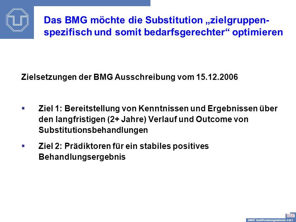BMBF Suchtforschungsverbund ASAT Sisi-Depressionstag12 Zielsetzungen der BMG Ausschreibung vom 15.12.2006 Ziel 1: Bereitstellung von Kenntnissen und E