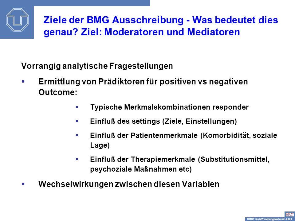 BMBF Suchtforschungsverbund ASAT Sisi-Depressionstag14 Vorrangig analytische Fragestellungen Ermittlung von Prädiktoren für positiven vs negativen Out