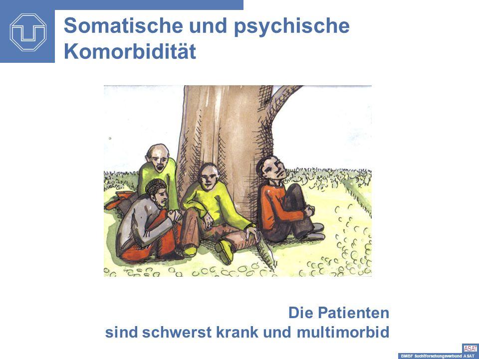 BMBF Suchtforschungsverbund ASAT Somatische und psychische Komorbidität Die Patienten sind schwerst krank und multimorbid