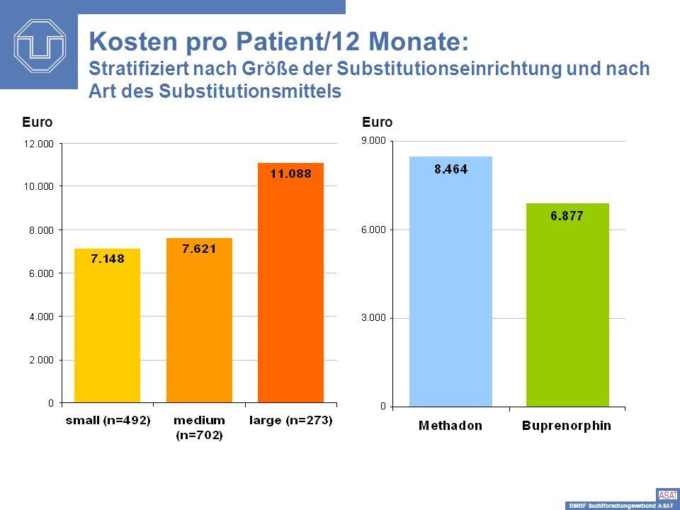 BMBF Suchtforschungsverbund ASAT Euro Kosten pro Patient/12 Monate: Stratifiziert nach Größe der Substitutionseinrichtung und nach Art des Substitutio