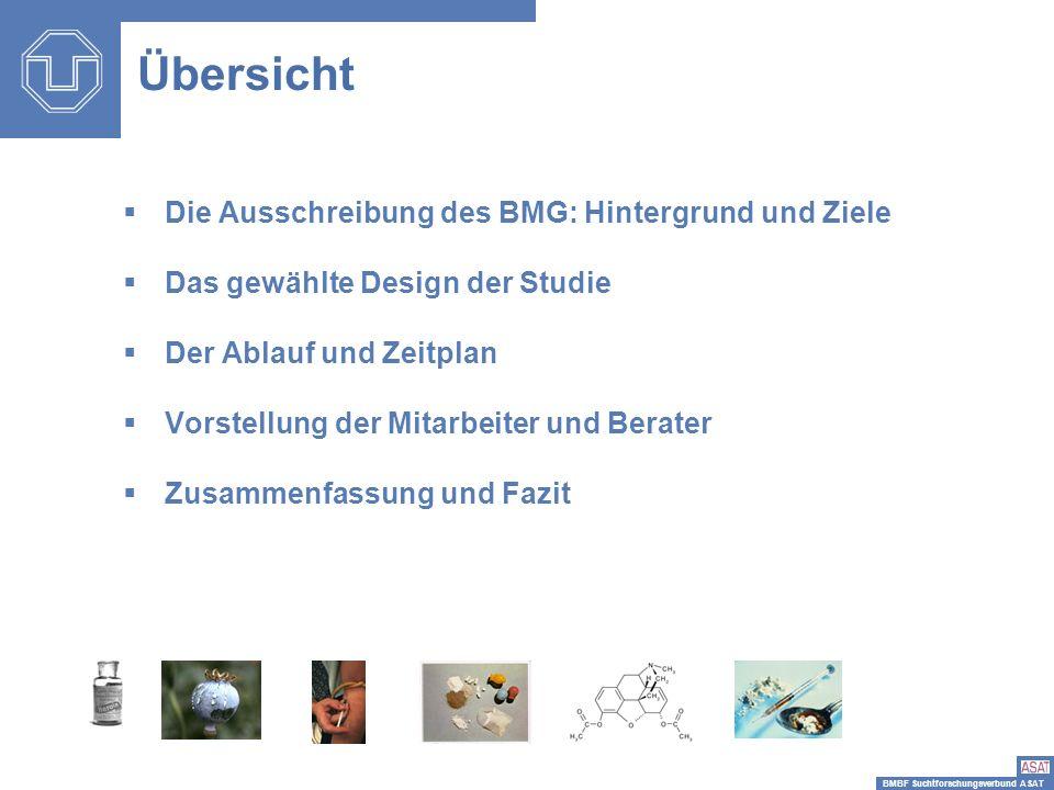 BMBF Suchtforschungsverbund ASAT Die Ausschreibung des BMG: Hintergrund und Ziele Das gewählte Design der Studie Der Ablauf und Zeitplan Vorstellung d