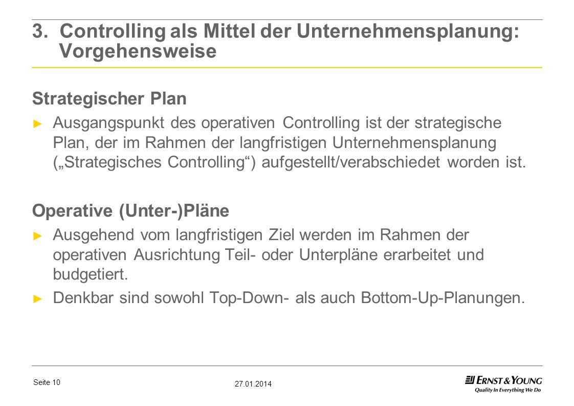 Seite 10 27.01.2014 3. Controlling als Mittel der Unternehmensplanung: Vorgehensweise Strategischer Plan Ausgangspunkt des operativen Controlling ist