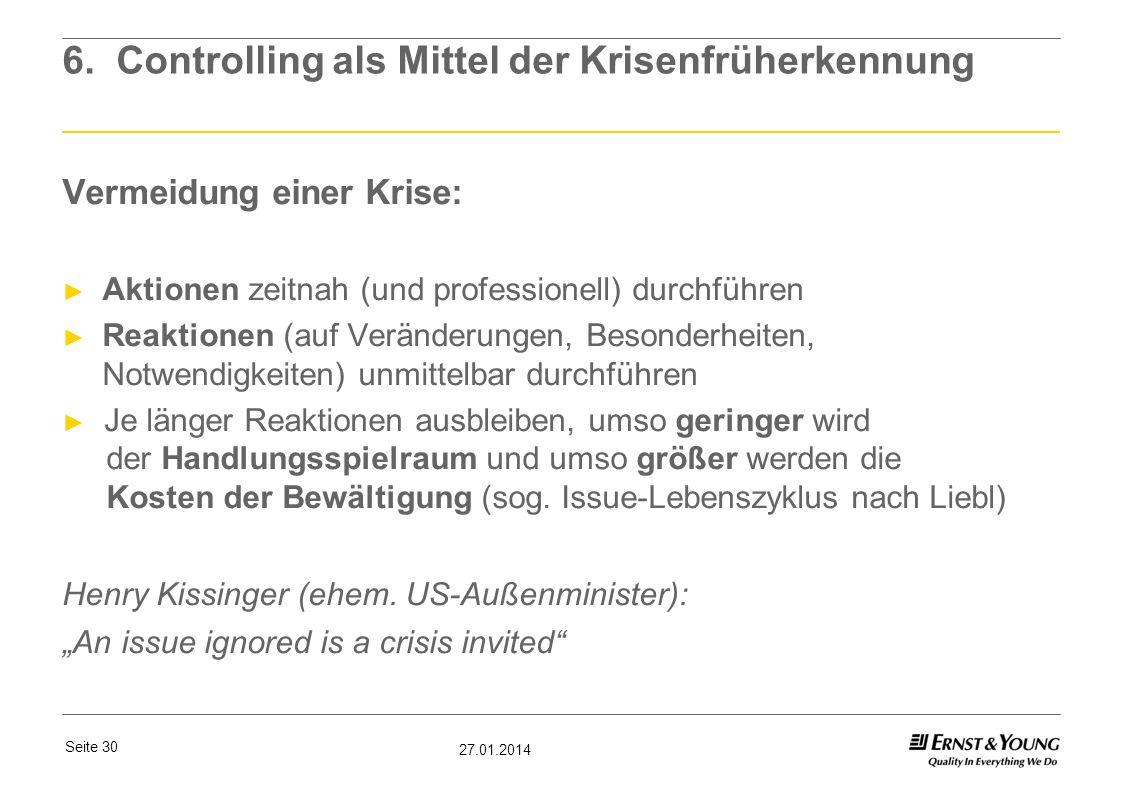 Seite 30 27.01.2014 6. Controlling als Mittel der Krisenfrüherkennung Vermeidung einer Krise: Aktionen zeitnah (und professionell) durchführen Reaktio