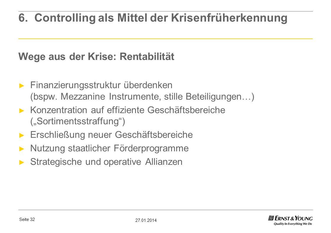 Seite 32 27.01.2014 6. Controlling als Mittel der Krisenfrüherkennung Wege aus der Krise: Rentabilität Finanzierungsstruktur überdenken (bspw. Mezzani