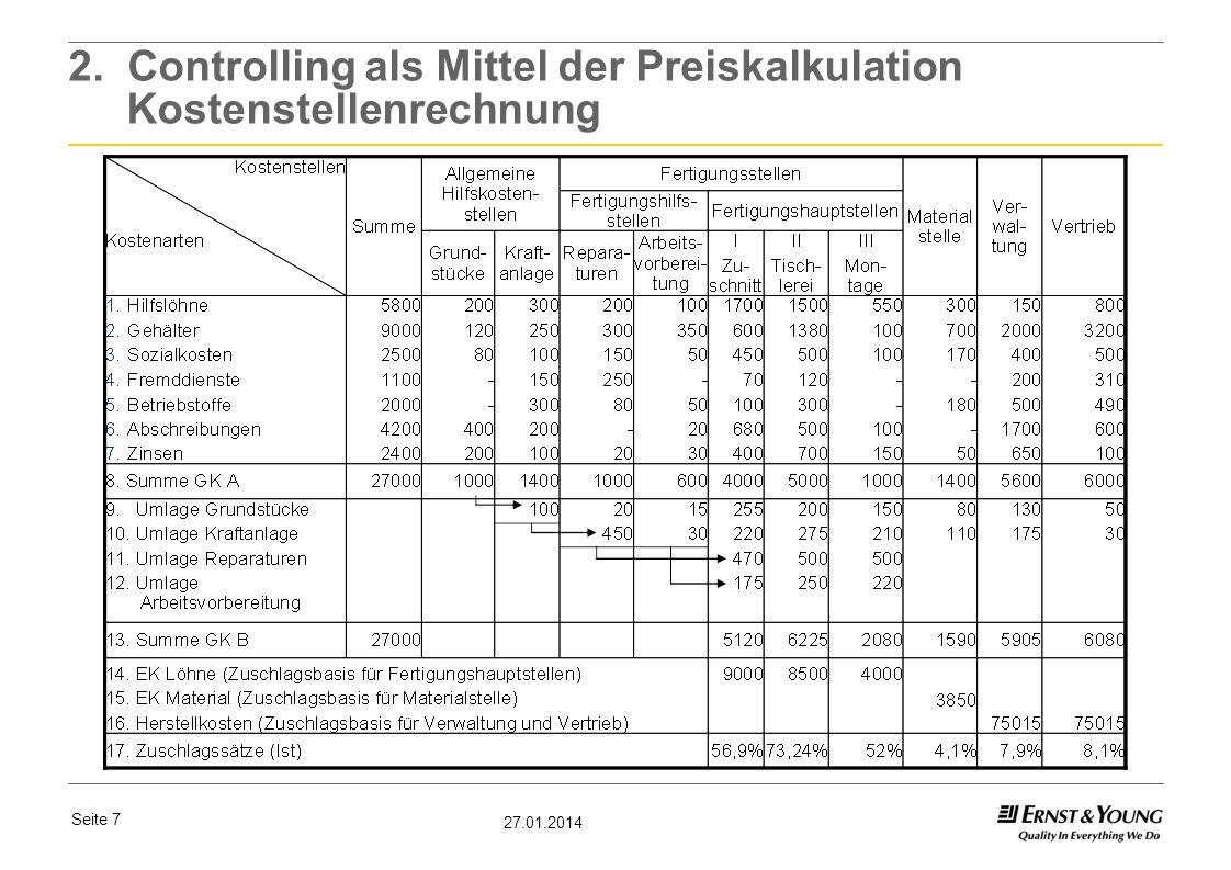 Seite 7 27.01.2014 2. Controlling als Mittel der Preiskalkulation Kostenstellenrechnung
