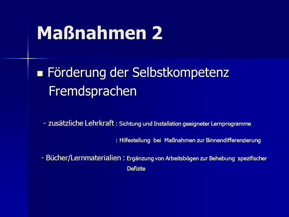 Maßnahmen 2 Förderung der Selbstkompetenz Förderung der Selbstkompetenz Fremdsprachen Fremdsprachen - zusätzliche Lehrkraft : Sichtung und Installatio