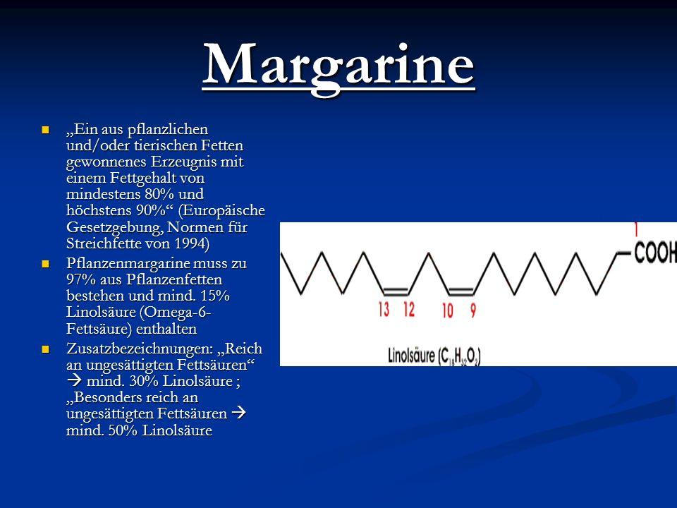 Margarine Ein aus pflanzlichen und/oder tierischen Fetten gewonnenes Erzeugnis mit einem Fettgehalt von mindestens 80% und höchstens 90% (Europäische