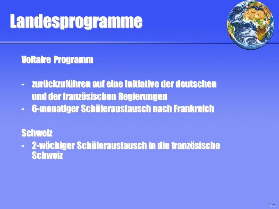 Landesprogramme Voltaire Programm - zurückzuführen auf eine Initiative der deutschen und der französischen Regierungen und der französischen Regierungen -6-monatiger Schüleraustausch nach Frankreich Schweiz -2-wöchiger Schüleraustausch in die französische Schweiz