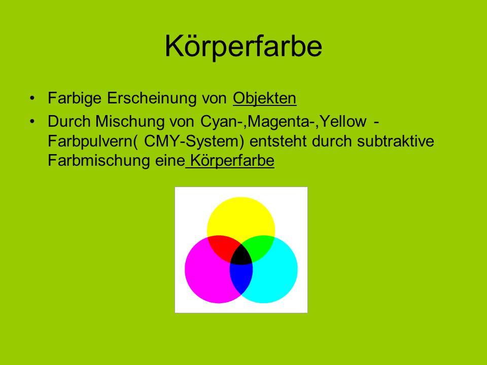 Körperfarbe Farbige Erscheinung von Objekten Durch Mischung von Cyan-,Magenta-,Yellow - Farbpulvern( CMY-System) entsteht durch subtraktive Farbmischu