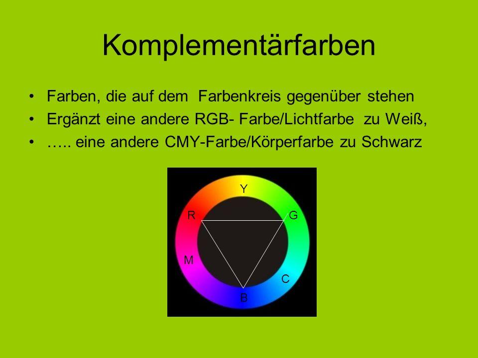 Komplementärfarben Farben, die auf dem Farbenkreis gegenüber stehen Ergänzt eine andere RGB- Farbe/Lichtfarbe zu Weiß, ….. eine andere CMY-Farbe/Körpe