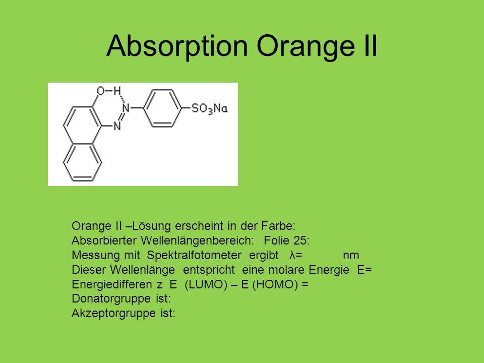 Absorption Orange II Orange II –Lösung erscheint in der Farbe: Absorbierter Wellenlängenbereich: Folie 25: Messung mit Spektralfotometer ergibt λ= nm