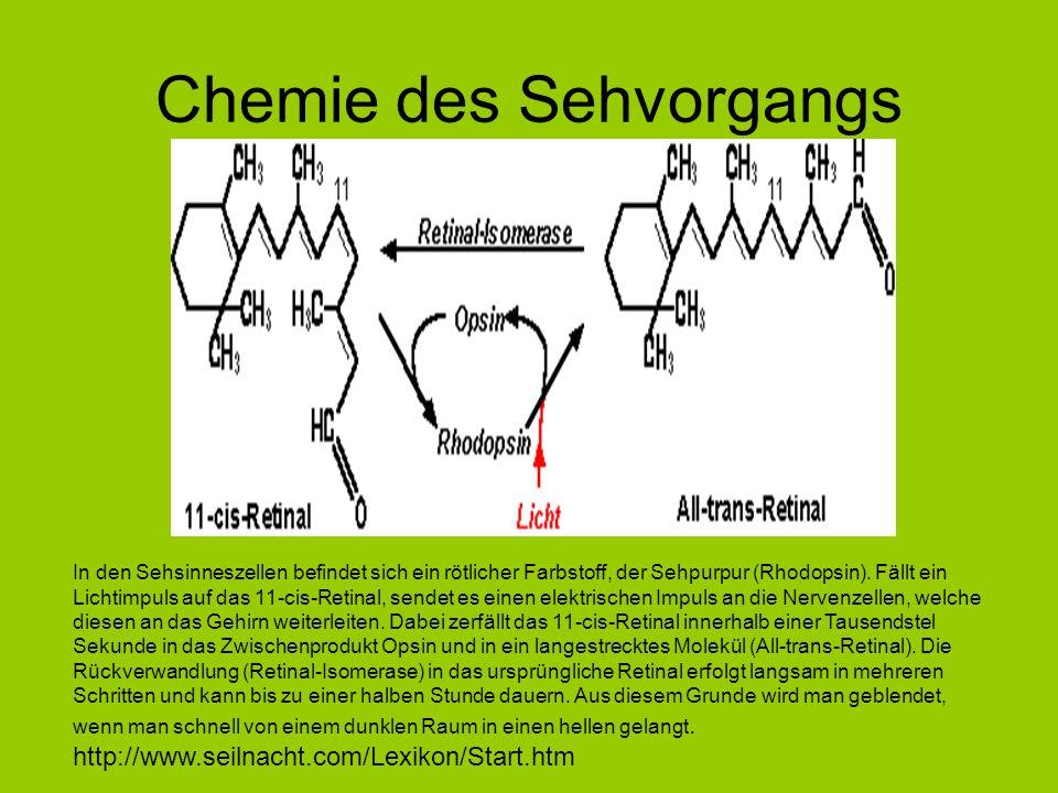 Chemie des Sehvorgangs In den Sehsinneszellen befindet sich ein rötlicher Farbstoff, der Sehpurpur (Rhodopsin). Fällt ein Lichtimpuls auf das 11-cis-R