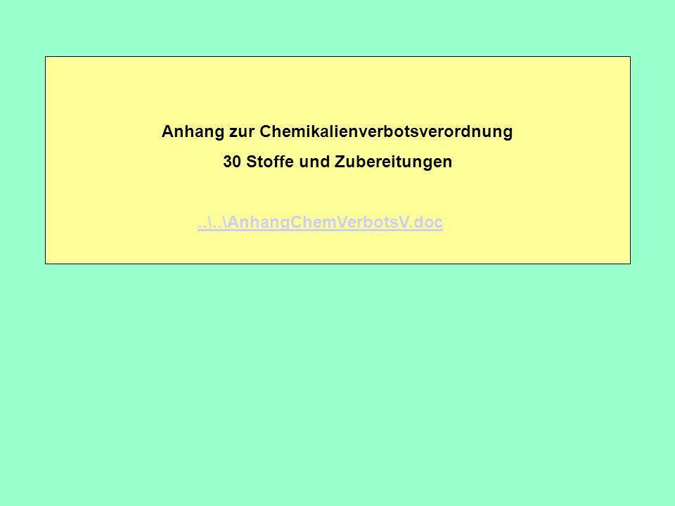 Anhang zur Chemikalienverbotsverordnung 30 Stoffe und Zubereitungen..\..\AnhangChemVerbotsV.doc