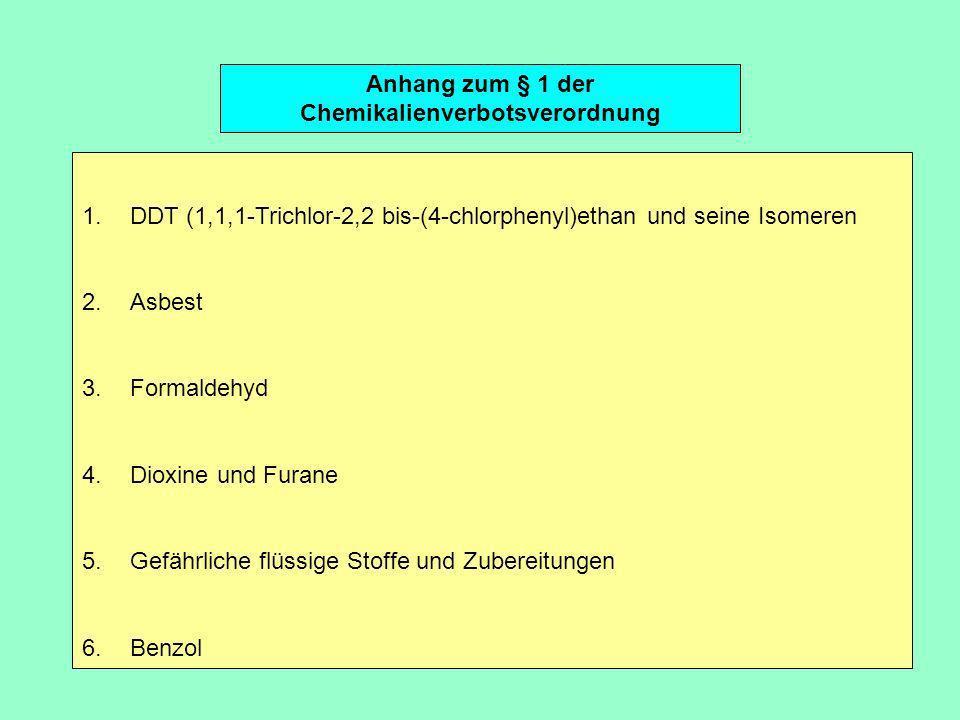 Anhang zum § 1 der Chemikalienverbotsverordnung 1.DDT (1,1,1-Trichlor-2,2 bis-(4-chlorphenyl)ethan und seine Isomeren 2.Asbest 3.Formaldehyd 4.Dioxine