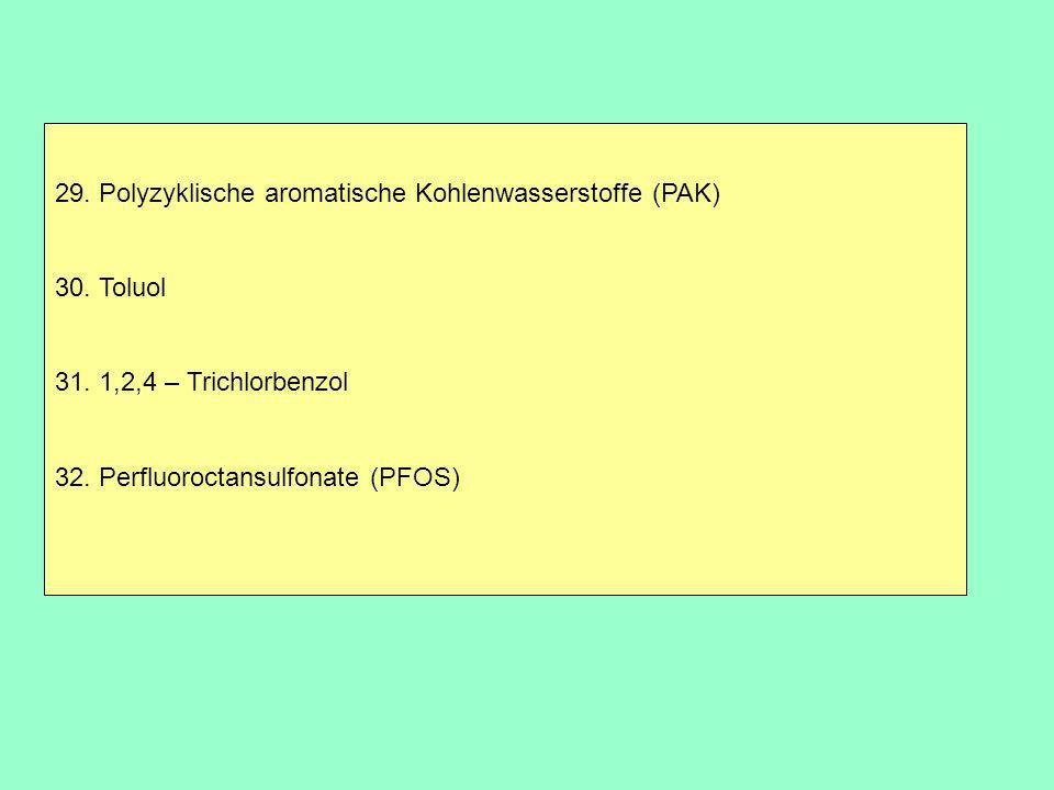 29. Polyzyklische aromatische Kohlenwasserstoffe (PAK) 30. Toluol 31. 1,2,4 – Trichlorbenzol 32. Perfluoroctansulfonate (PFOS)