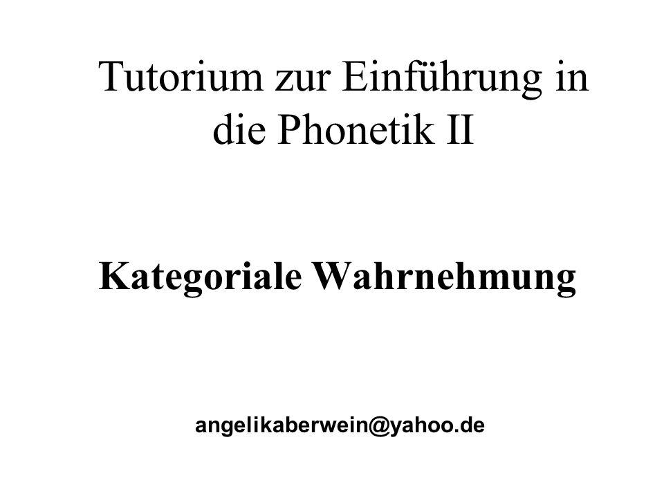 Tutorium zur Einführung in die Phonetik II angelikaberwein@yahoo.de Kategoriale Wahrnehmung
