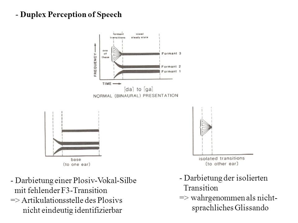 - Duplex Perception of Speech - Darbietung einer Plosiv-Vokal-Silbe mit fehlender F3-Transition => Artikulationsstelle des Plosivs nicht eindeutig ide