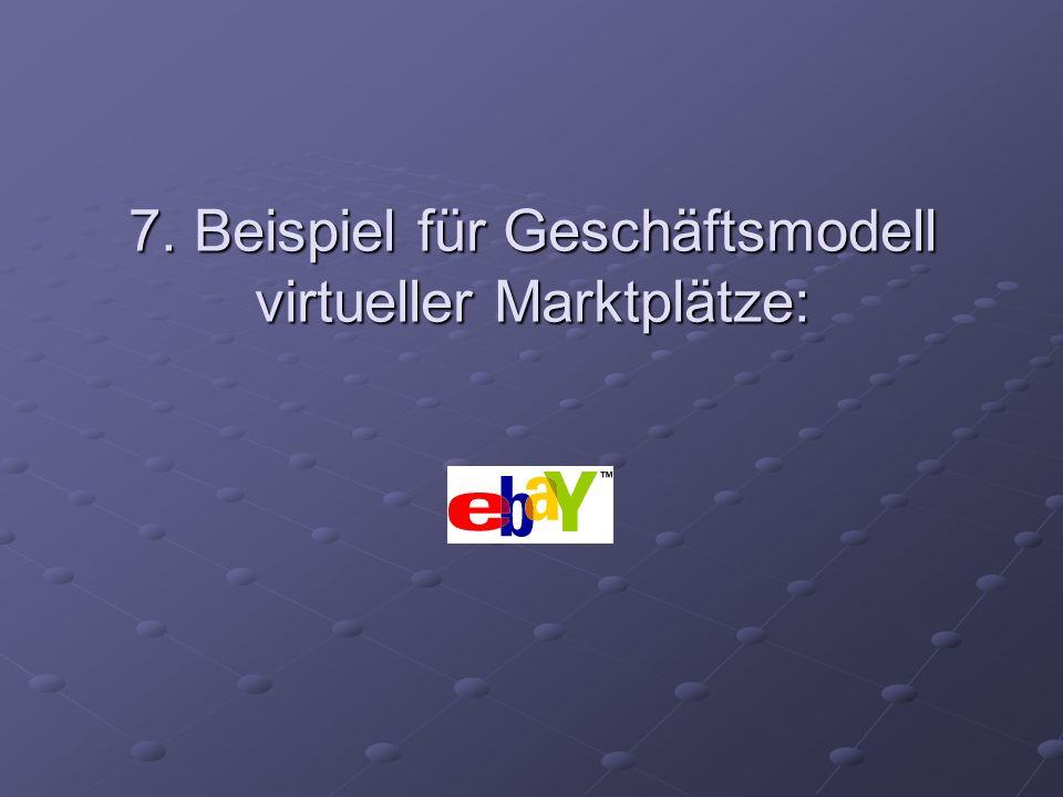 7. Beispiel für Geschäftsmodell virtueller Marktplätze: