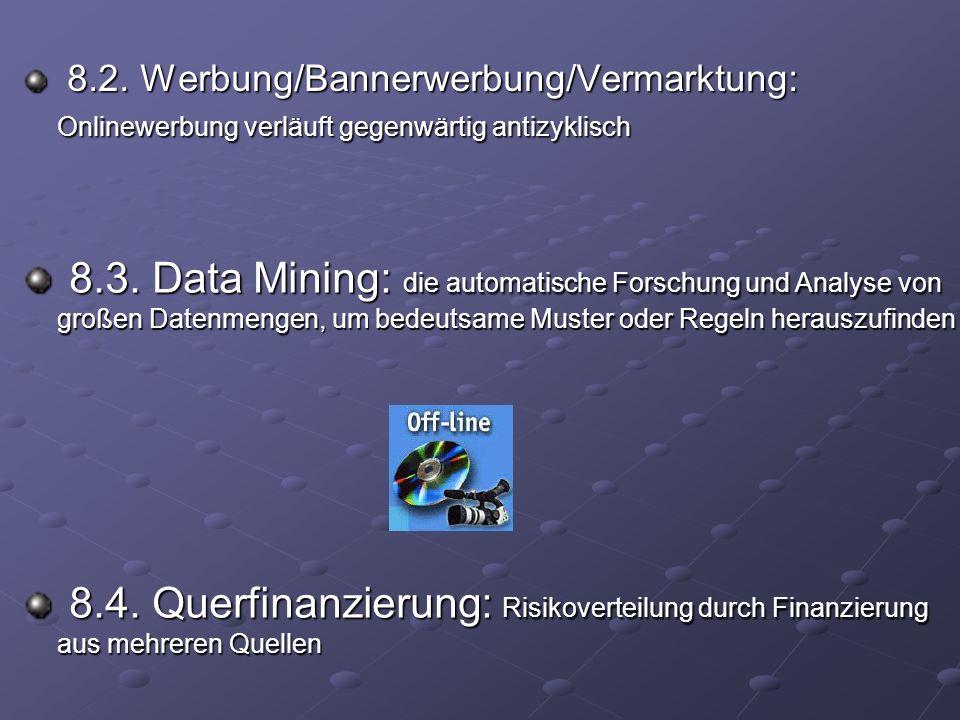 8.2. Werbung/Bannerwerbung/Vermarktung: Onlinewerbung verläuft gegenwärtig antizyklisch 8.2.