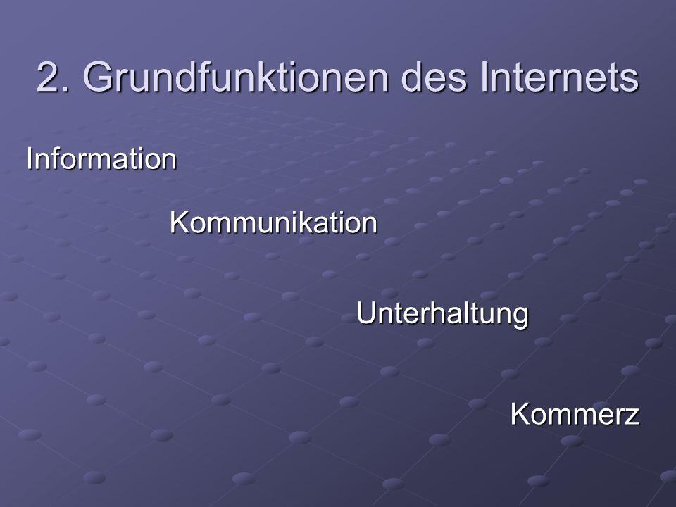 2. Grundfunktionen des Internets Kommunikation Unterhaltung Kommerz Information