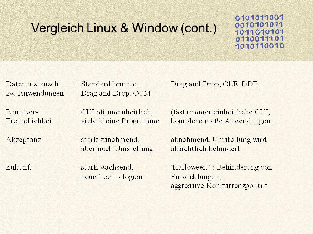 Vergleich Linux & Window (cont.)