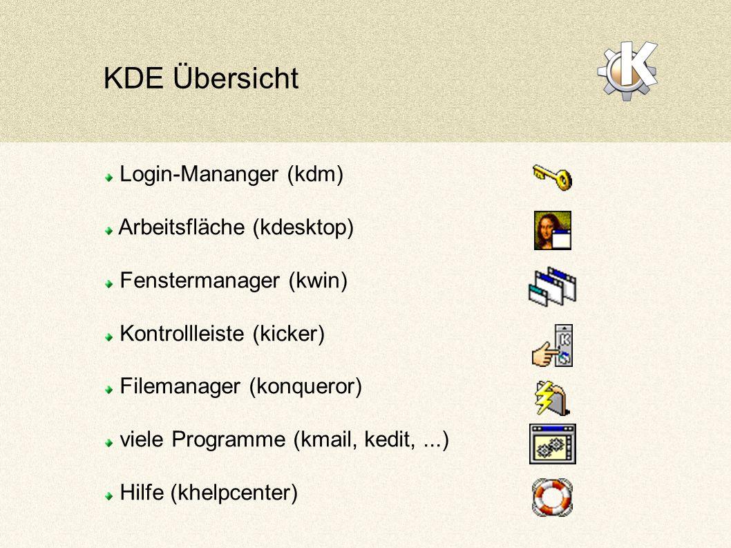 KDE Übersicht Login-Mananger (kdm) Arbeitsfläche (kdesktop) Fenstermanager (kwin) Kontrollleiste (kicker) Filemanager (konqueror) viele Programme (kmail, kedit,...) Hilfe (khelpcenter)