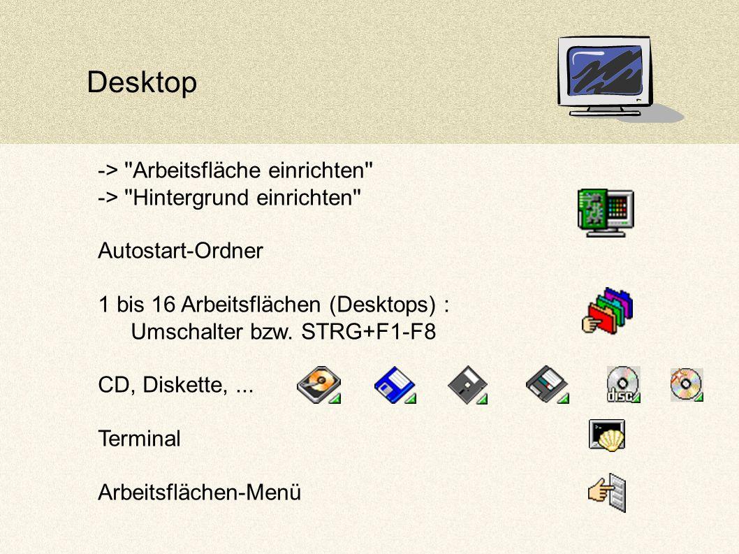 Desktop -> Arbeitsfläche einrichten -> Hintergrund einrichten Autostart-Ordner 1 bis 16 Arbeitsflächen (Desktops) : Umschalter bzw.
