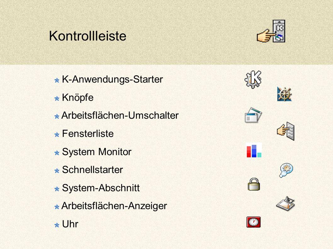Kontrollleiste K-Anwendungs-Starter Knöpfe Arbeitsflächen-Umschalter Fensterliste System Monitor Schnellstarter System-Abschnitt Arbeitsflächen-Anzeiger Uhr