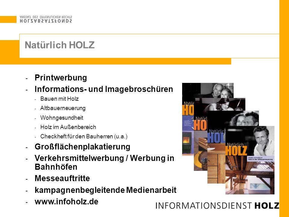 Natürlich HOLZ - Printwerbung - Informations- und Imagebroschüren - Bauen mit Holz - Altbauerneuerung - Wohngesundheit - Holz im Außenbereich - Checkh