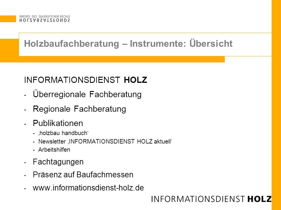 Holzbaufachberatung – Instrumente: Übersicht INFORMATIONSDIENST HOLZ - Überregionale Fachberatung - Regionale Fachberatung - Publikationen -holzbau ha