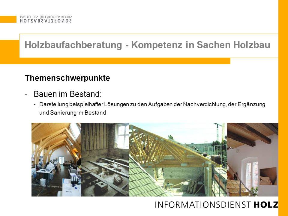 Themenschwerpunkte -Bauen im Bestand: -Darstellung beispielhafter Lösungen zu den Aufgaben der Nachverdichtung, der Ergänzung und Sanierung im Bestand
