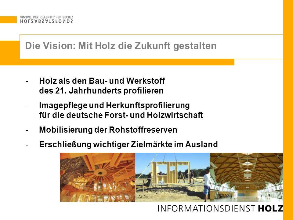 -Holz als den Bau- und Werkstoff des 21. Jahrhunderts profilieren -Imagepflege und Herkunftsprofilierung für die deutsche Forst- und Holzwirtschaft -M