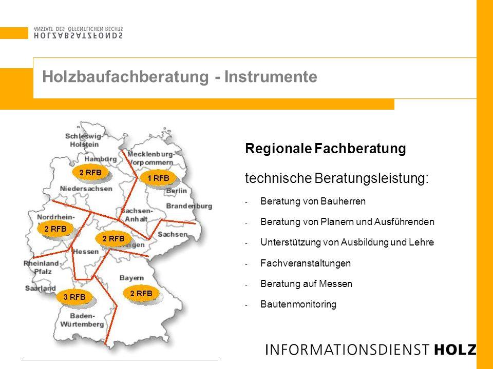Regionale Fachberatung technische Beratungsleistung: - Beratung von Bauherren - Beratung von Planern und Ausführenden - Unterstützung von Ausbildung u