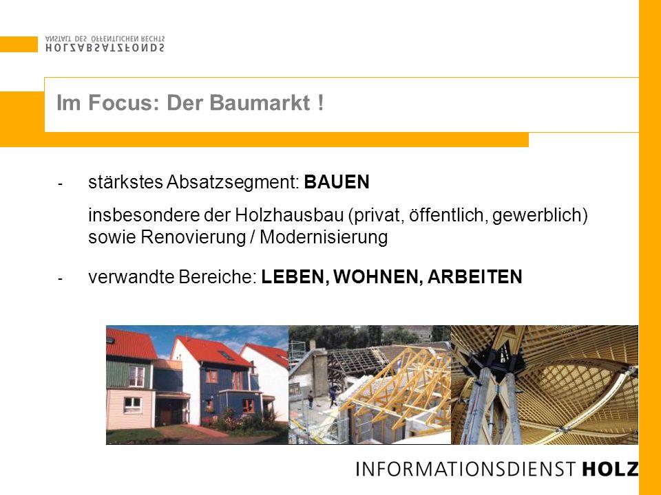 - stärkstes Absatzsegment: BAUEN insbesondere der Holzhausbau (privat, öffentlich, gewerblich) sowie Renovierung / Modernisierung - verwandte Bereiche