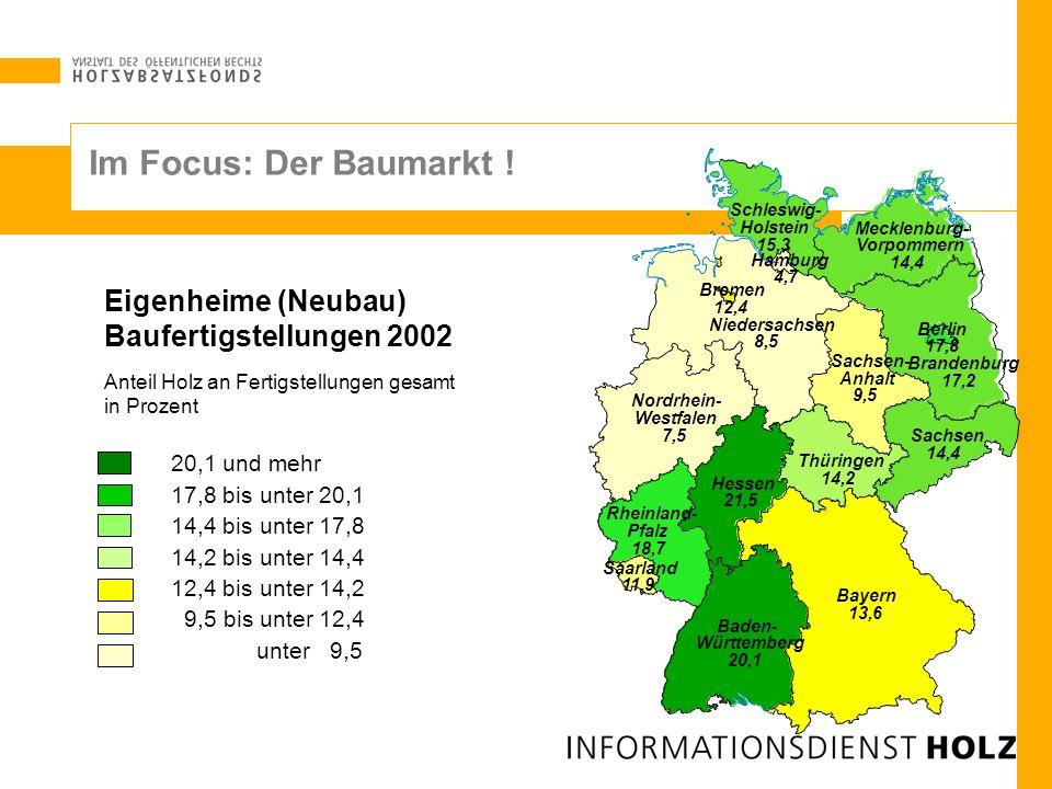 Schleswig- Holstein 15,3 Hamburg 4,7 Niedersachsen 8,5 Bremen 12,4 Nordrhein- Westfalen 7,5 Hessen 21,5 Rheinland- Pfalz 18,7 Baden- Württemberg 20,1