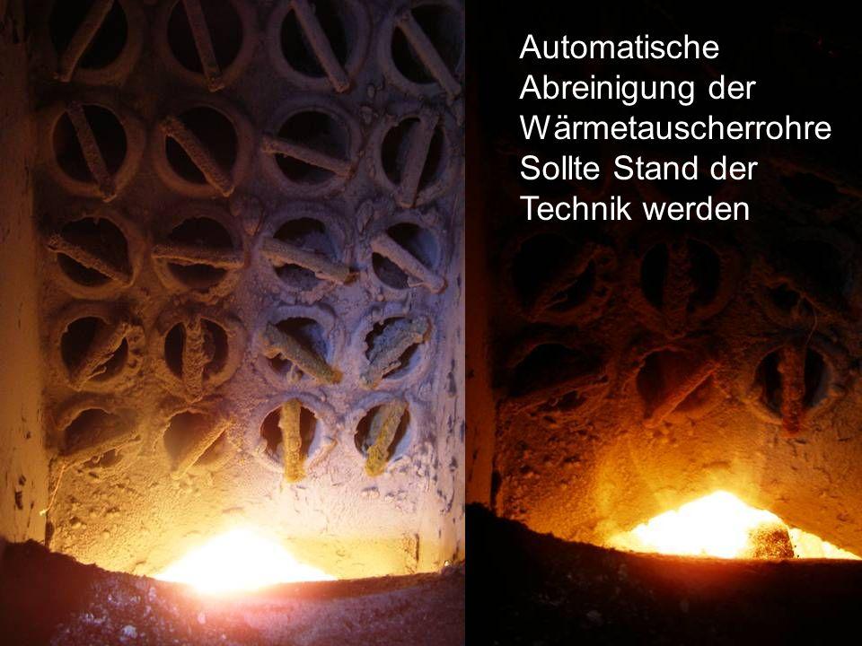 Automatische Abreinigung der Wärmetauscherrohre Sollte Stand der Technik werden