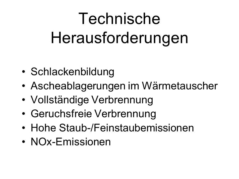 Technische Herausforderungen Schlackenbildung Ascheablagerungen im Wärmetauscher Vollständige Verbrennung Geruchsfreie Verbrennung Hohe Staub-/Feinsta