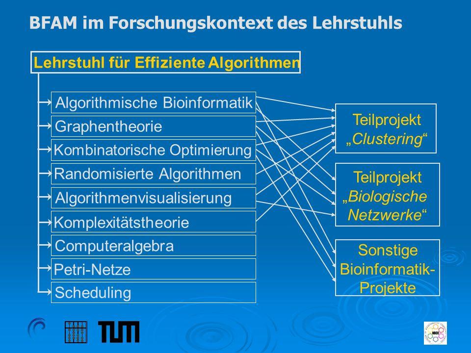 BFAM im Forschungskontext des Lehrstuhls Lehrstuhl für Effiziente Algorithmen Graphentheorie Kombinatorische Optimierung Randomisierte Algorithmen Com