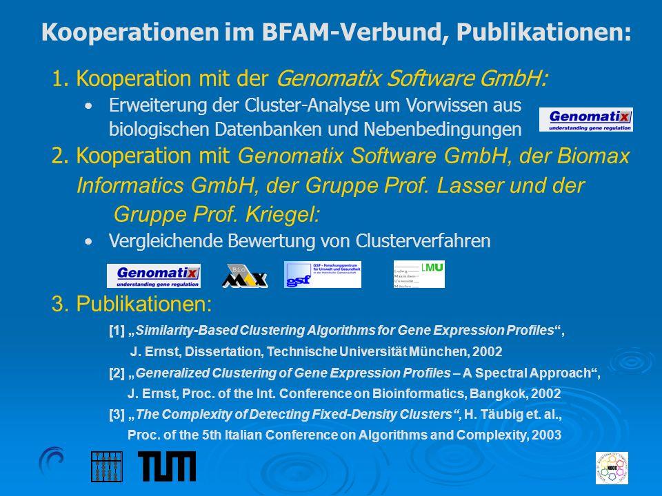 Kooperationen im BFAM-Verbund, Publikationen: 1.Kooperation mit der Genomatix Software GmbH: Erweiterung der Cluster-Analyse um Vorwissen aus biologis