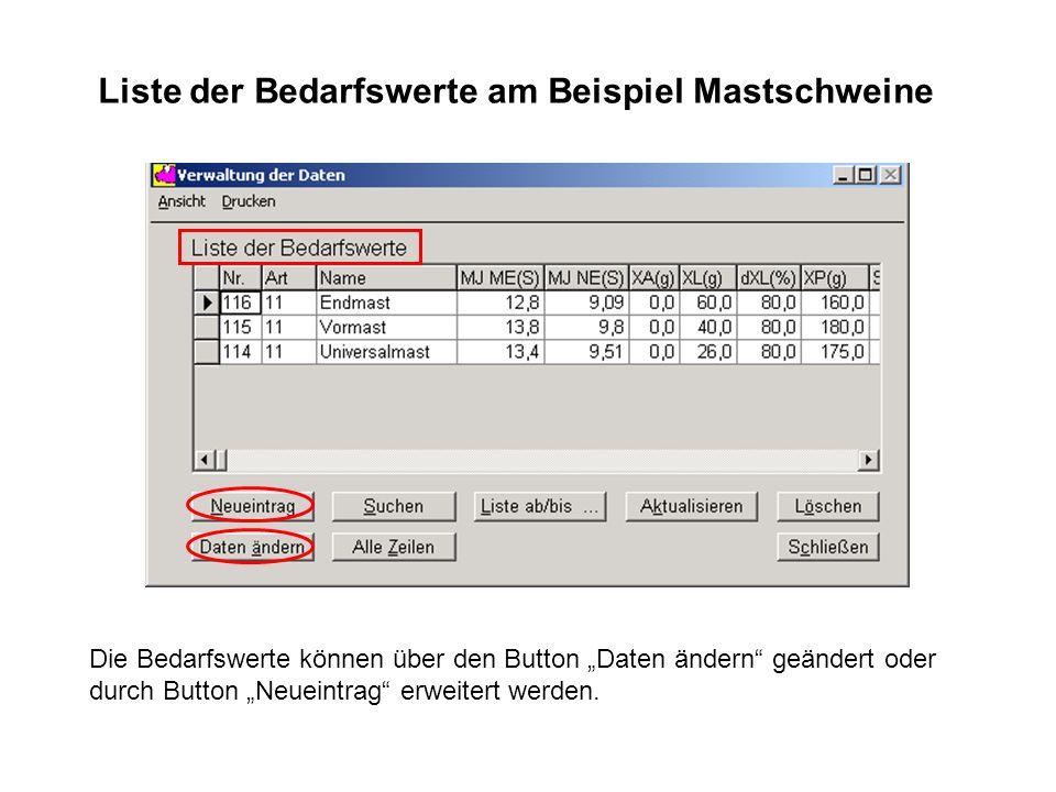 Die Bedarfswerte können über den Button Daten ändern geändert oder durch Button Neueintrag erweitert werden. Liste der Bedarfswerte am Beispiel Mastsc