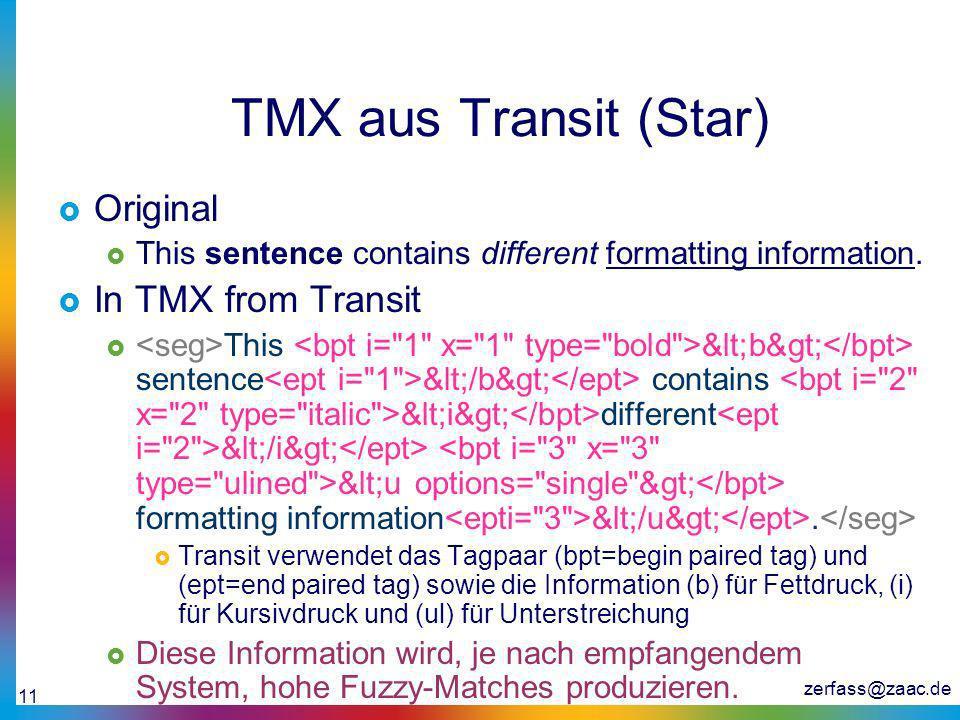 zerfass@zaac.de 11 TMX aus Transit (Star) Original This sentence contains different formatting information. In TMX from Transit This <b> sentenc