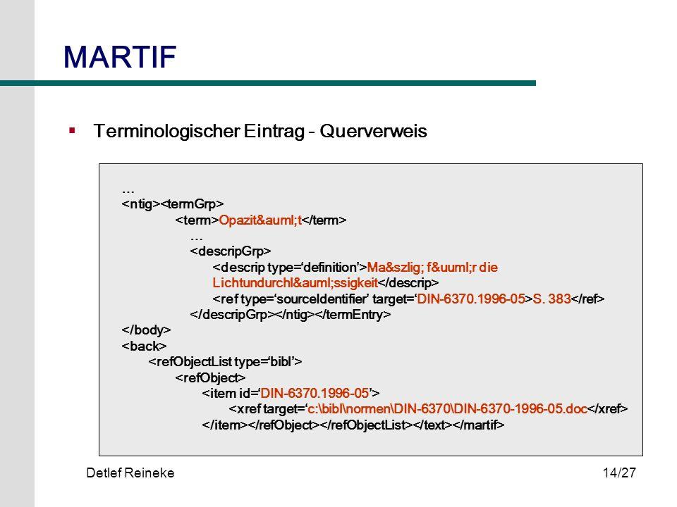 Detlef Reineke14/27 Terminologischer Eintrag - Querverweis … Opazität … Maß für die Lichtundurchlässigkeit S. 383 MARTIF