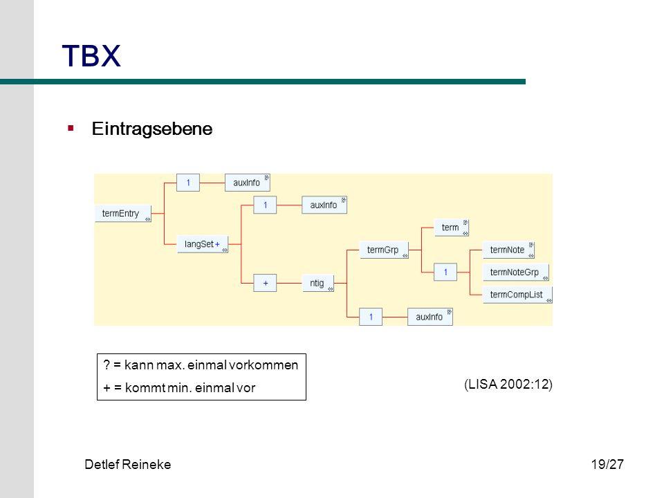 Detlef Reineke19/27 TBX Eintragsebene ? = kann max. einmal vorkommen + = kommt min. einmal vor (LISA 2002:12)