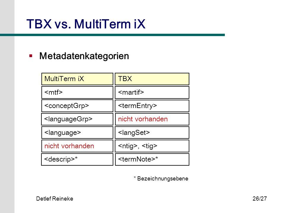 Detlef Reineke26/27 Metadatenkategorien TBX vs. MultiTerm iX MultiTerm iXTBX * nicht vorhanden * * Bezeichnungsebene nicht vorhanden,