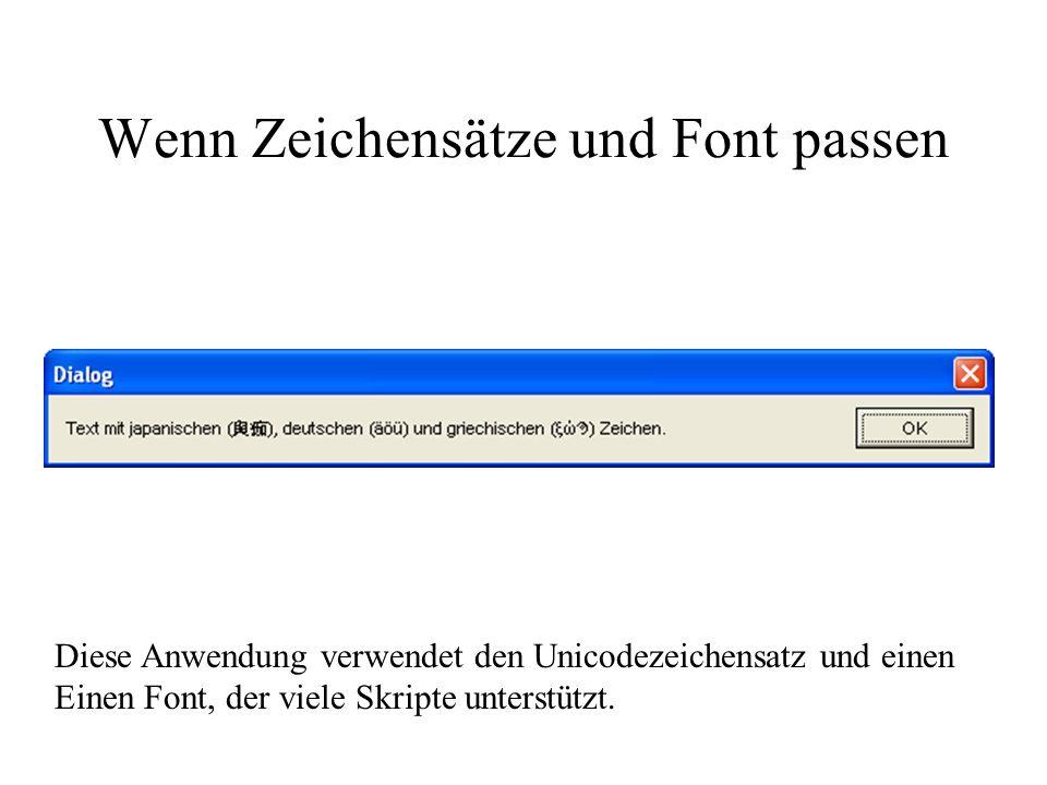 Wenn Zeichensätze und Font passen Diese Anwendung verwendet den Unicodezeichensatz und einen Einen Font, der viele Skripte unterstützt.