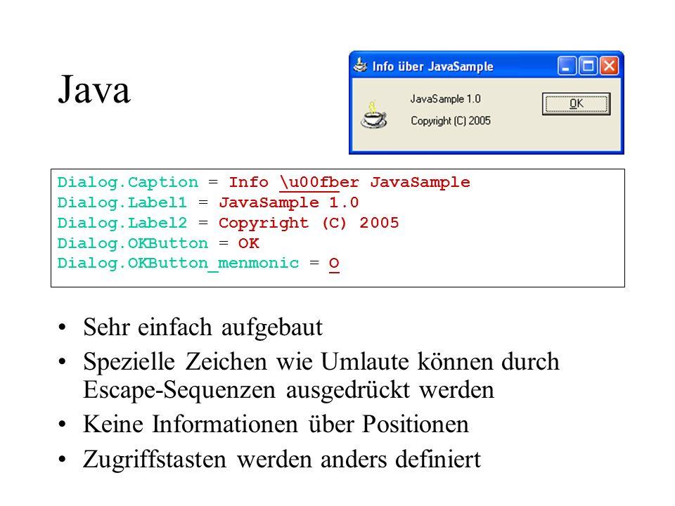 Java Sehr einfach aufgebaut Spezielle Zeichen wie Umlaute können durch Escape-Sequenzen ausgedrückt werden Keine Informationen über Positionen Zugriff