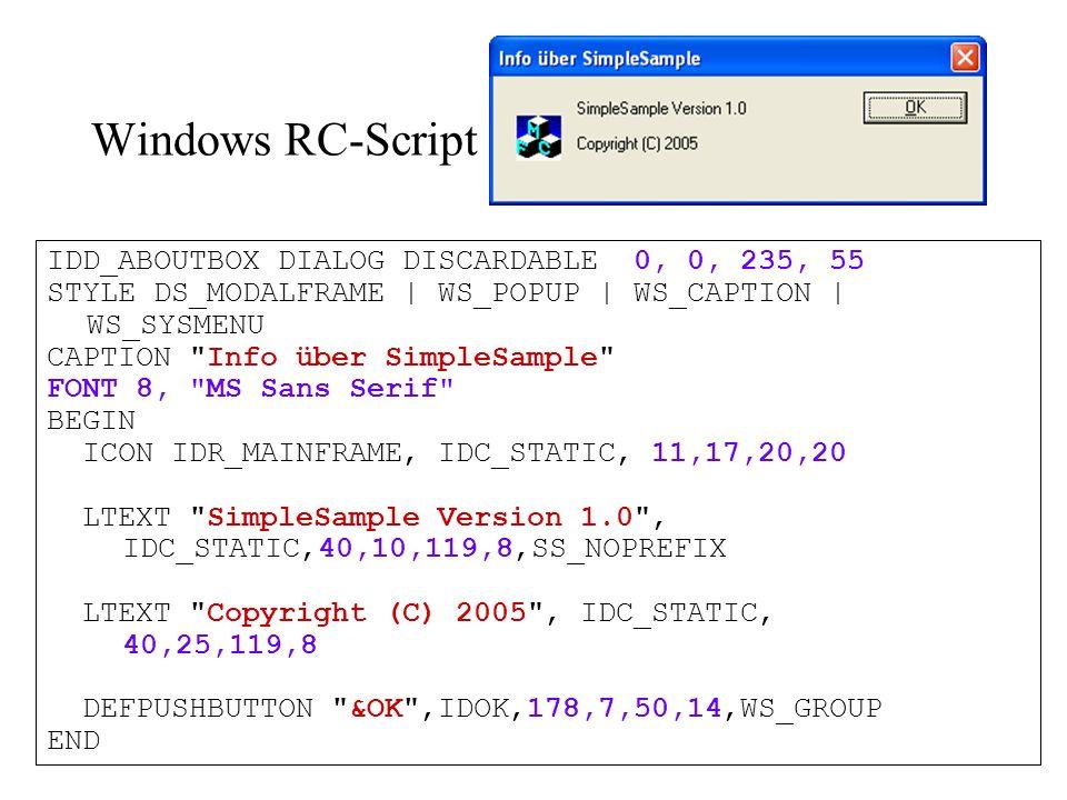 Borland Delphi Delphi unterstützt sogenannte Vererbung Delphi Ressourcen können Fonts für jede Kontrolle enthalten Delphi Ressourcen sind viel umfangreicher als Windows Ressourcen (hier > 800 Zeilen) Platzhalter, Escape-Sequenzen, Tags wie Windows Nicht komplett Unicode-basierend
