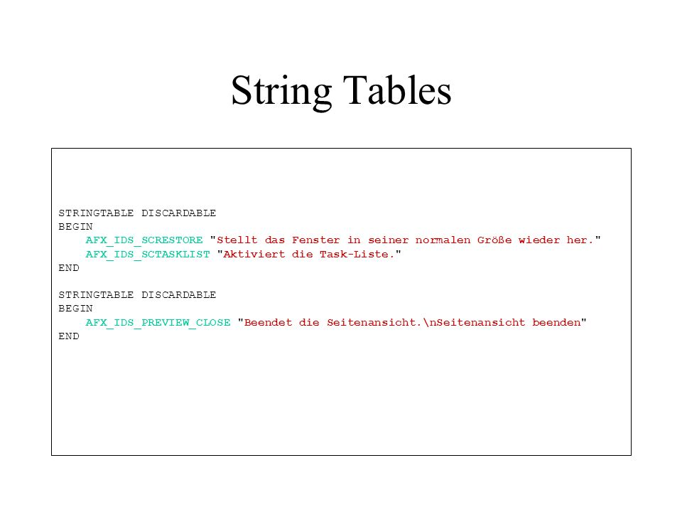 String Tables STRINGTABLE DISCARDABLE BEGIN AFX_IDS_SCRESTORE