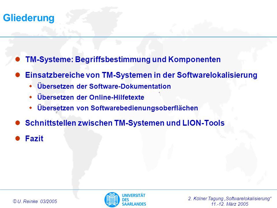 2.Kölner Tagung Softwarelokalisierung 11.-12. März 2005 ã U.